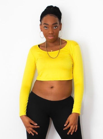 Loose Boxy Yellow Long Sleeve Crop Top / Made in USA