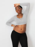 Gray Long Sleeve Form-Fitting Crop Top / Made in USA