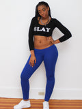 Slay Black Long Sleeve Crop Top / Made in USA