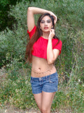 Soft Red Short Sleeve Crop Top