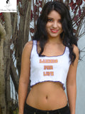 Sirenaz White LA Lakers For Life Ribbed Crop Top