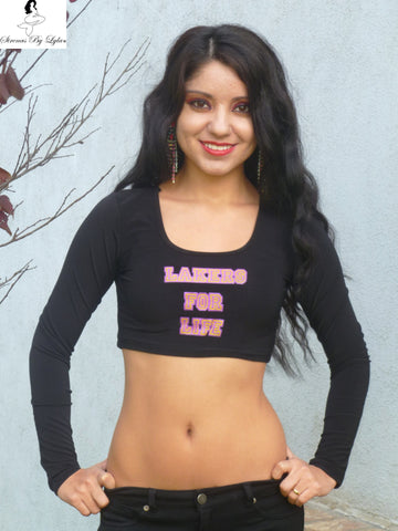 Sirenaz Black LA Lakers For Life Crop Top