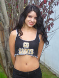 Sirenaz Black Go New Orleans Saints Ribbed Crop Top