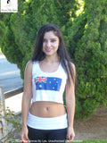 Sirenaz Australian Flag White Ribbed Crop Top