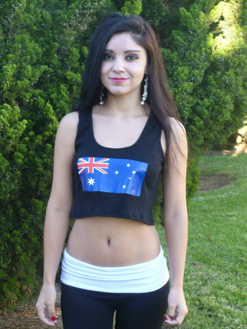 Sirenaz Australian Flag Black Ribbed Crop Top
