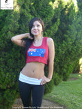 Sirenaz Australian Flag Red Ribbed Crop Top