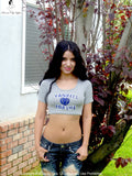 New York Yankees For Life Gray Short Sleeve Crop Top