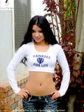 Yankees For Life White Long Sleeve Crop Top