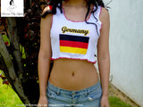 Sirenaz Germany White Ribbed Crop Tank Top