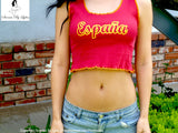 Sirenaz España Spain Red Ribbed Crop Tank Top