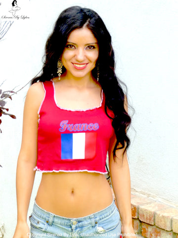 Sirenaz France Red Ribbed Crop Top