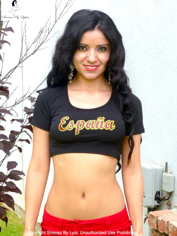 Sirenaz España Spain Short Sleeve Black Crop Top