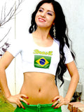 Sirenaz Brasil Brazil Short Sleeve White Crop Top