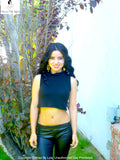 Not So Choker Neck Black Sleeveless Crop Top Sweater