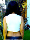 Sirenaz Not So Choker Neck Pearl White Sleeveless Crop Top Sweater