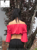 Sirenaz Red Long Open Sleeve Peasant Crop Top