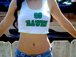 Go Seattle Seahawks White Ribbed Crop Tank Top