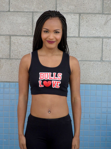 Bulls Love Black Ribbed Crop Tank Top