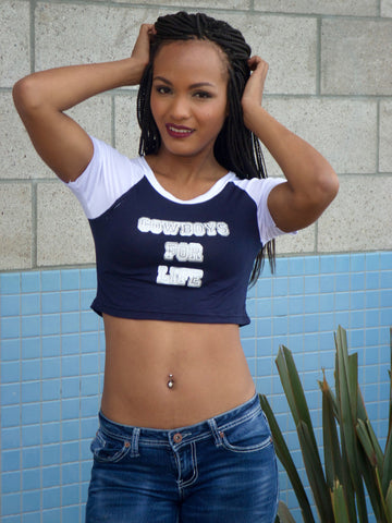Cowboys For Life Short Sleeve Raglan Crop Top
