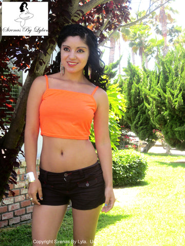 Sirenaz Neon Orange Crop Tank Top