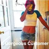 A beautiful customer in a one of Lyla's Crop Tops.