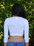 White 3/4 Sleeve Form-Fitting Crop Top