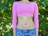 Pink 3/4 Sleeve Form-Fitting Crop Top