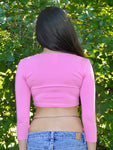Pink 3/4 Sleeve Form-Fitting Crop Top / Made in USA