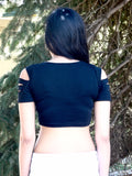 Black Slashed Short Sleeve Black Crop Top