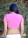 Pink Slashed Short Sleeve Red Crop Top