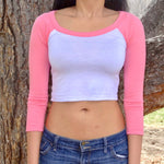 Long Sleeve White and Pink Raglan Crop Top