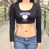 Rockies Girl Black Form-Fitting Long Sleeve Crop Top / Made in USA