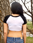 Rockies Girl White and Black Short Sleeve Crop Top / Made in USA