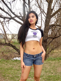 Rockies Girl White and Black Short Sleeve Crop Top