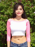 3/4 Sleeve White and Pink Raglan Crop Top / Cropped Baseball Tee
