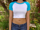 Short Sleeve White and Turquoise Raglan Crop Top / Cropped Baseball Tee