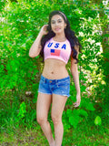 USA Pink Crop Tank Top