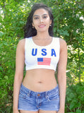 USA White Crop Tank Top