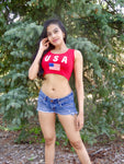 USA Red Crop Tank Top