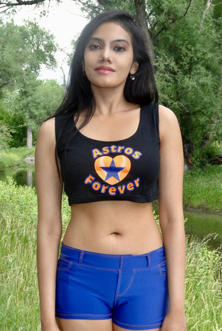 Astros Forever Black Form-Fitting Crop Top / Cropped Tank Top