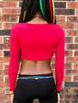 Red Long Sleeve Form-Fitting Crop Top / Made in USA