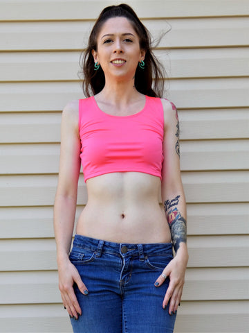 Neon Pink Form-Fitting Crop Top / Cropped Tank Top / Made in USA