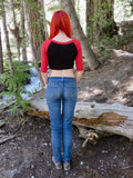 3/4 Sleeve Black and Red Raglan Crop Top / Cropped Baseball Tee / Made in USA