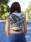 Loose Boxy Camouflage Army Green Cropped Hoodie / Crop Tank Top / Made in USA