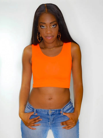 Neon Orange Form-Fitting Crop Tank Top / Made in USA