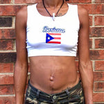 Boricua Puerto Rico White Ribbed Crop Top / Made in USA