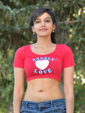Angels Love Red Form-Fitting Short Sleeve Crop Top