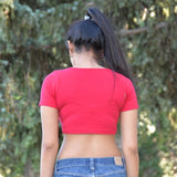 Angels Love Red Form-Fitting Short Sleeve Crop Top / Made in USA