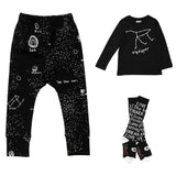 Beau LOves - Baby Pants Galaxy, big dipper tee and lettering socks