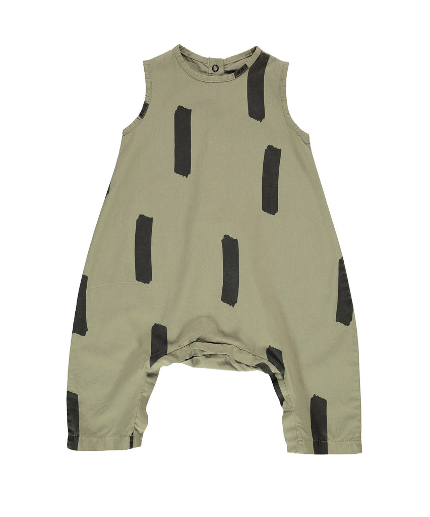 Beau LOves - Baby oversized jumpsuit Paint Brush - Olive green